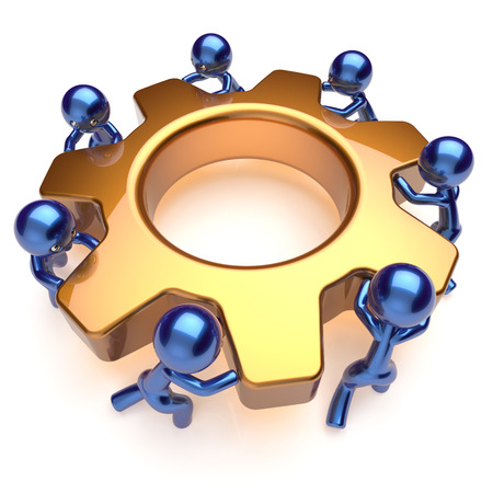 activism: Partnership team work business process men workers turning gear together. Teamwork manpower cooperation community make activism motion concept. 3d render isolated on white