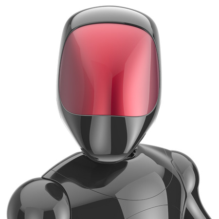 Cyborg black robot bot android futuristic cyberspace character artificial high tech concept red shiny face metallic. 3d render isolated on white background
