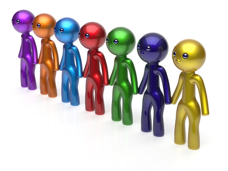 seven persons: Teamwork friends partnership character social network chain line people diverse friendship row individuality team seven different cartoon persons unity meeting icon concept colorful. 3d render isolated