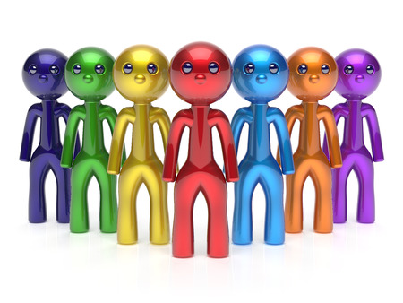 seven persons: Teamwork characters individuality men crowd leadership businessman commander team seven cartoon persons icon. Social relationship friends concept 3d render isolated