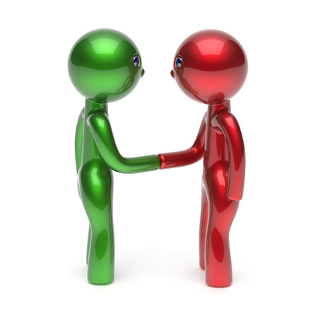 acquaintance: Handshake two men cartoon characters shaking hand business partners deal 2 different businessmen teamwork acquaintance agreement welcome meeting people icon concept red green. 3d render isolated