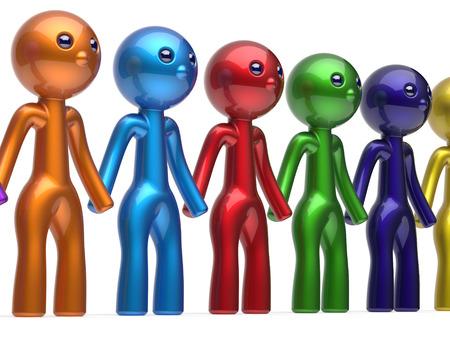 fila di persone: Caratteri Lavoro di squadra Societ� amicizia social network di linea catena persone diverse amici fila squadra individualit� cinque diverse persone del fumetto unit� incontro icona concetto colorato. Rendering 3D isolato
