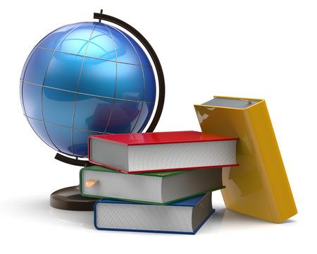 literatura: Libro libros de texto en blanco pila globo aventura global de conocimientos de geografía sabiduría estudiar icono de la literatura cartografía concepto colorido. 3d aislado en el fondo blanco