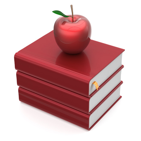 erudition: Book red apple blank bookmark textbooks stack education studying reading learning school college knowledge literature idea icon concept. 3d render isolated on white