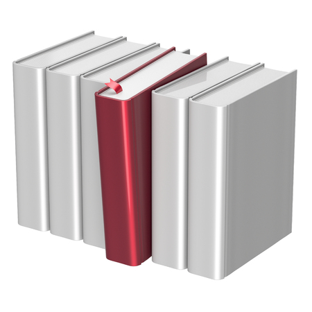 choosing selecting: Books white selecting bookshelf row one red blank selected choosing take answer covers standing individual textbook template. Grab index content icon concept. 3d render isolated on white Stock Photo
