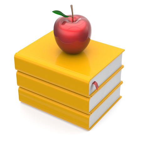 erudition: Books yellow apple red textbook bookmark stack education studying reading learning school college knowledge literature idea icon concept. 3d render isolated on white