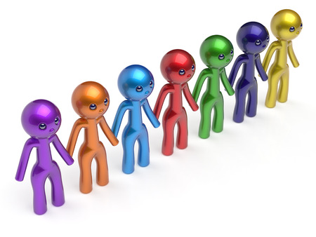 seven persons: Social network chain line friends character teamwork people diverse friendship row individuality team seven different cartoon persons unity meeting icon concept colorful. 3d render isolated