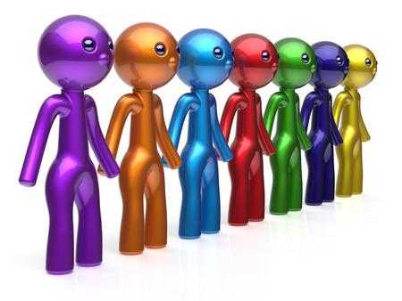 fila di persone: Amici di carattere social network di linea catena di lavoro di squadra persone fila amicizia Squadra varia individualit� sette differenti persone cartone animato incontro unit� icona concetto colorato. Rendering 3D isolato