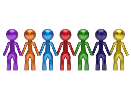 people in row: Social network friends character teamwork chain line people diverse friendship row individuality team seven different cartoon persons unity meeting icon concept colorful. 3d render isolated