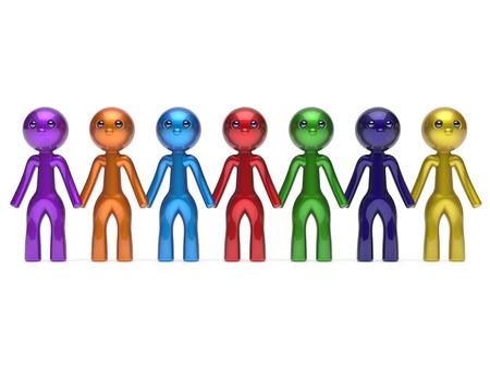 fila di persone: Sociali Rete di amici carattere lavoro di squadra linea catena persone diverse fila amicizia squadra individualit� sette diverse persone del fumetto unit� incontro icona concetto colorato. Rendering 3D isolato Archivio Fotografico