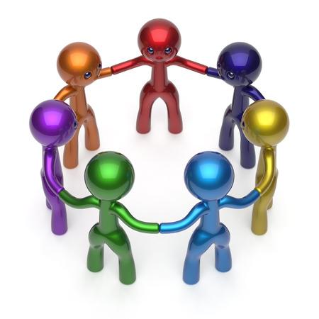 mensen kring: Sociaal netwerk mensen cirkel teamwerk diverse personages vriendschap individualiteit team zeven verschillende cartoon vrienden eenheid vergadering icoon concept kleurrijk. 3D render geïsoleerde Stockfoto