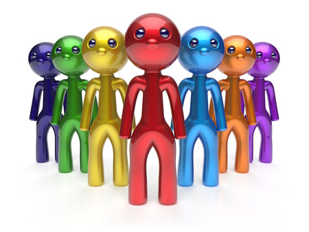 Teamwork cartoon characters friendship men crowd individuality leadership businessman commander team seven person icon. Social relationship friends concept 3d render isolated photo