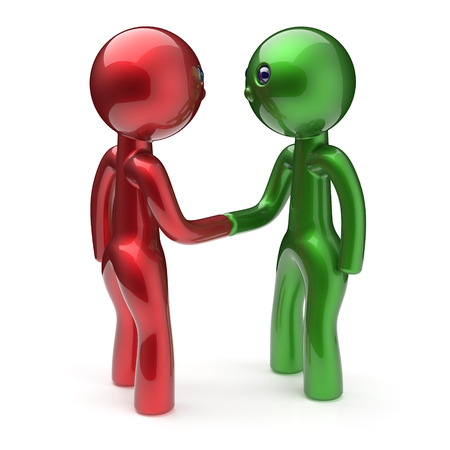 acquaintance: Two men shaking hand cartoon characters handshake business partners deal 2 different businessmen teamwork acquaintance agreement welcome meeting people icon concept red green. 3d render isolated