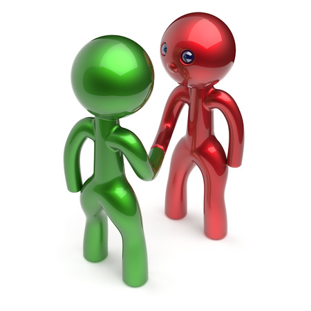 armistice: Two men handshake cartoon characters shaking hand business partners deal 2 different businessmen teamwork acquaintance agreement welcome meeting people icon concept red green. 3d render isolated