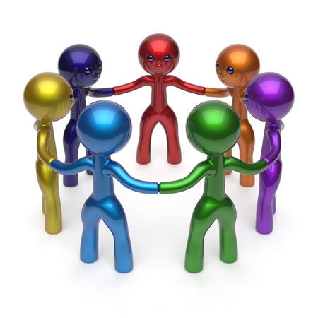 Social network teamwork circle people diverse characters friendship individuality team seven different cartoon friends unity meeting icon concept colorful. 3d render isolated photo
