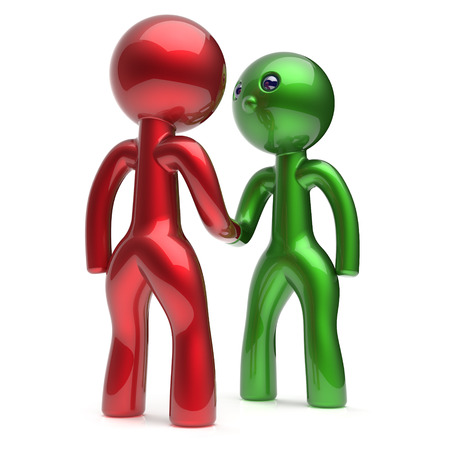 two people meeting: Handshake two men cartoon characters deal shaking hand business partners deal 2 different businessmen teamwork acquaintance agreement welcome meeting people icon red green. 3d render isolated Stock Photo