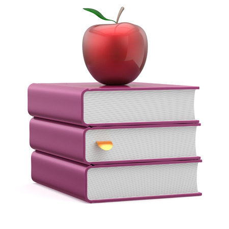 erudition: Books purple and red apple blank textbook stack reading education studying learning school college knowledge literature idea icon concept. 3d render isolated on white