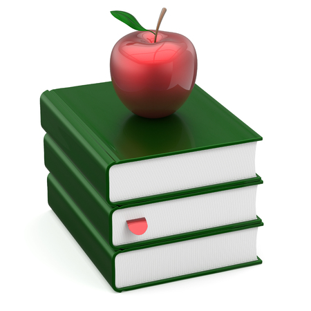 erudition: Textbook stack green blank books and red apple education studying reading learning school college knowledge literature idea icon concept. 3d render isolated on white