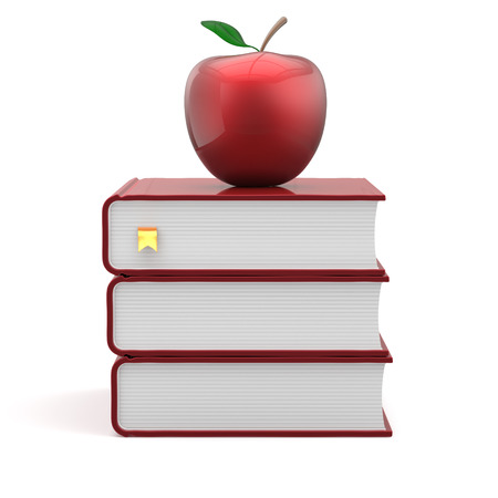 erudition: Red apple and books bookmark blank textbook stack education studying reading learning school college knowledge literature idea icon concept. 3d render isolated on white