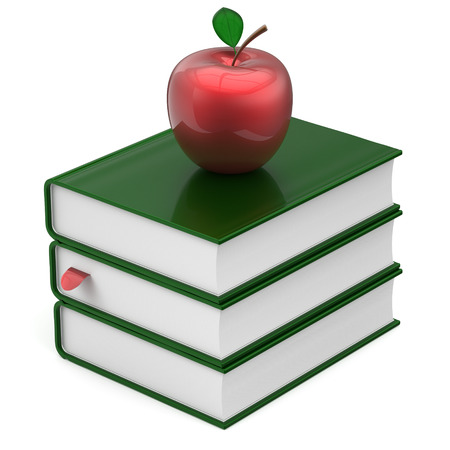 erudition: Books green blank bookmark textbooks stack apple red education studying reading learning school college knowledge literature idea icon concept. 3d render isolated on white Stock Photo