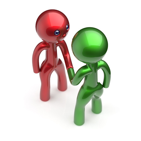 two people meeting: Two men handshake cartoon characters shaking hand business partners deal 2 different businessmen teamwork acquaintance agreement welcome meeting people icon concept red green. 3d render isolated