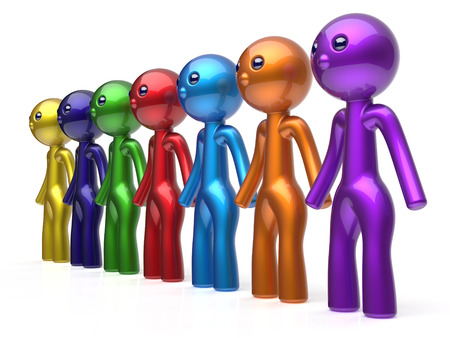 seven persons: Social network human resources character teamwork friends chain line people diverse friendship row individuality team seven different cartoon persons unity meeting concept colorful. 3d render isolated