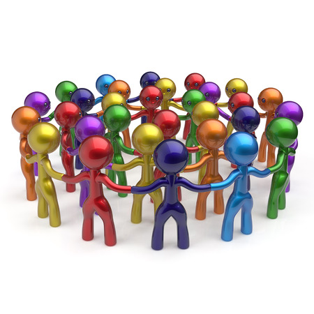 large group of people: Social network worldwide large group people teamwork circle characters friendship individuality team different cartoon friends corporate human unity icon concept colorful. 3d render isolated Stock Photo