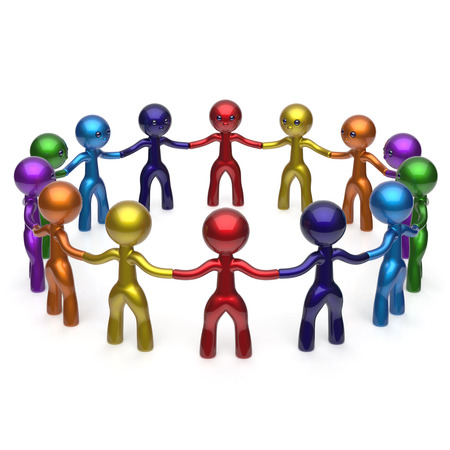 large group of people: Men together circle social network characters worldwide large group people teamwork friendship individuality team different cartoon friends unity human resources concept colorful. 3d render isolated