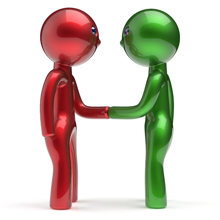 two people meeting: Handshake two men cartoon characters shaking hand business partners deal 2 different businessmen teamwork acquaintance agreement welcome meeting people icon concept red green. 3d render isolated