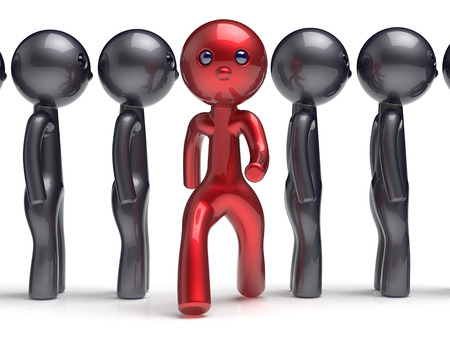 run out: Stand out from the crowd character different individuality  people unique man think differ person otherwise run to new opportunities concept human resources hr icon. 3d render isolated