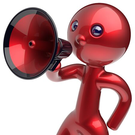 making an announcement: Man speaking megaphone making news announcement character red stylized leadership human cartoon guy speaker person people communication figure icon concept. 3d render isolated Stock Photo