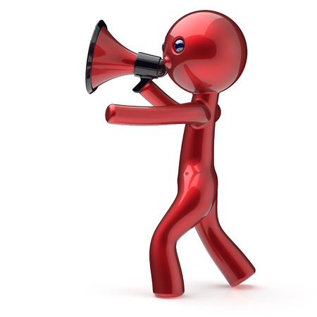 making an announcement: Man megaphone character red stylized human cartoon guy person speaking making announcement people communication speaker news figure icon concept. 3d render isolated Stock Photo