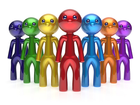 commander: Teamwork characters men crowd leadership businessman commander team individuality seven cartoon persons icon. Social relationship friends concept 3d render isolated Stock Photo