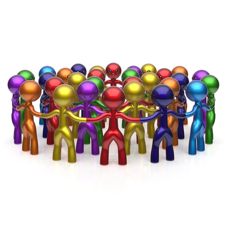 large group of people: Social network large group people teamwork circle characters worldwide friendship individuality team different cartoon friends corporate human unity icon concept colorful. 3d render isolated