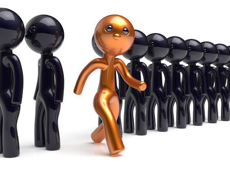 differ: Stand out from the crowd different people individuality character unique man think differ person otherwise run to new opportunities concept human resources hr icon. 3d render isolated Stock Photo