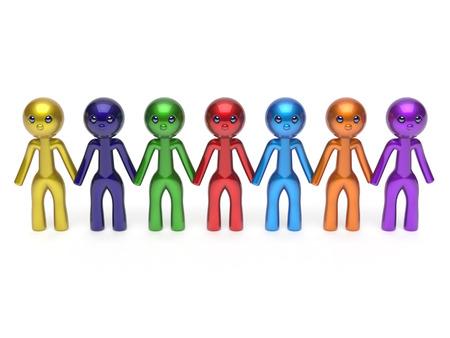 fila di persone: Social network di linea amici carattere lavoro di squadra catena risorse umane persone fila amicizia Squadra varia individualit� sette diverse persone fumetto unit� concetto incontro colorato. Rendering 3D isolato
