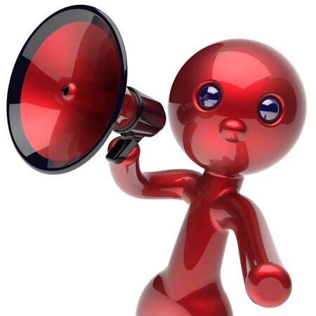 making an announcement: Man making announcement megaphone character red stylized human cartoon guy person speaking people communication speaker figure news icon concept. 3d render isolated