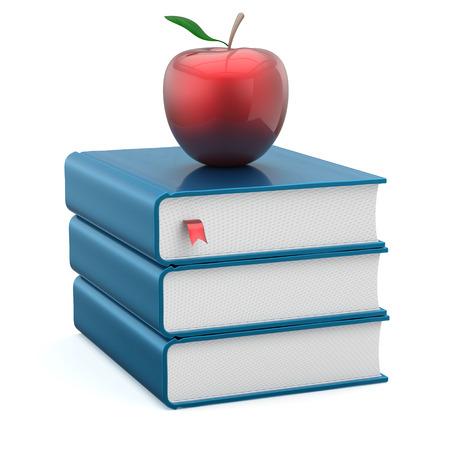 literatura: Libros pila de libros de texto en blanco educación manzana azul y rojo studying lectura escuela de aprendizaje conocimiento universitario idea literatura icono de concepto. 3d render aislado en blanco