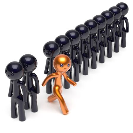 run out: Different people stand out from the crowd individuality character unique man think differ person otherwise run to new opportunities concept human resources hr icon. 3d render isolated