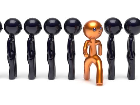 stand out: Different character people stand out from the crowd unique man think differ person otherwise run to new opportunities concept individuality human resources hr icon. 3d render isolated Stock Photo