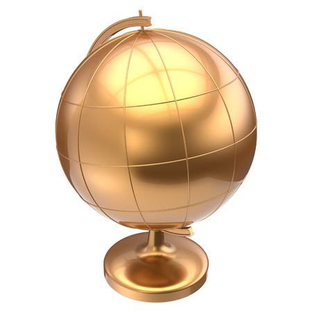 golden globe: Golden globe blank planet Earth global geography school studying world cartography education symbol icon gold yellow. 3d render isolated on white background Stock Photo