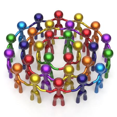 corporate team: Social network worldwide large circle characters group people teamwork friendship individuality team different cartoon friends corporate human unity icon concept colorful. 3d render isolated