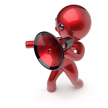communication cartoon: Man megaphone character news making communication announcement red stylized human cartoon guy person speaking people speaker figure icon concept. 3d render isolated