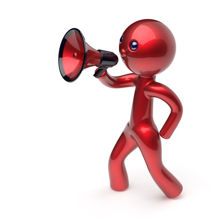 communication cartoon: Man megaphone leader making news announcement character red stylized human cartoon guy person speaking people communication speaker figure icon concept. 3d render isolated Stock Photo