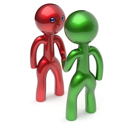 two people meeting: Two men shaking hand cartoon characters handshake business partners deal 2 different businessmen teamwork acquaintance agreement welcome meeting people icon concept red green. 3d render isolated