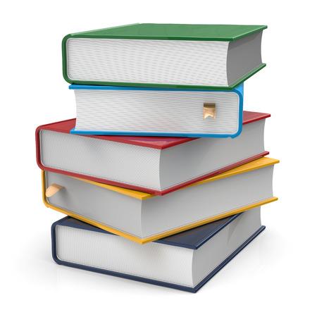 Buch Stapel Von Lehrbüchern Leeren Fest Umfasst Bunten Bücher ...