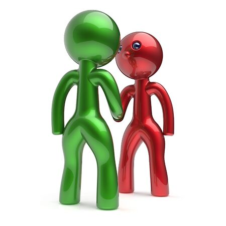 business agreement: Handshake cartoon characters two men shaking hand business partners deal 2 different businessmen teamwork acquaintance agreement welcome meeting people icon concept red green. 3d render isolated