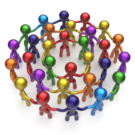 corporate team: Social network large group people human resources teamwork circle characters worldwide friendship individuality team different cartoon friends corporate unity icon concept colorful. 3d render isolated