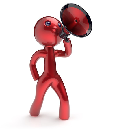 communication cartoon: Man speaking megaphone character making announcement news red stylized human cartoon guy speaker person communication people speaker figure icon concept. 3d render isolated