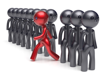 stand out: Different people character individuality stand out from the crowd unique red man think differ person otherwise run to new opportunities concept human resources hr icon. 3d render isolated